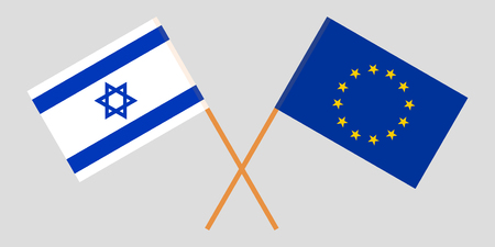 Israel and EU. The Israeli and European Union flags. Official colors. Correct proportion. Vector illustration