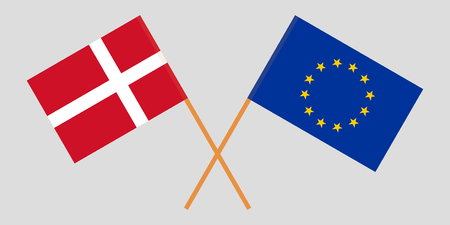 Denmark and EU. The Danish and European Union flags. Official colors. Correct proportion. Vector illustration Ilustrace