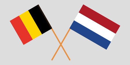 Netherlands and Belgium. The Netherlandish and Belgian flags. Official proportion. Correct colors. Vector illustration