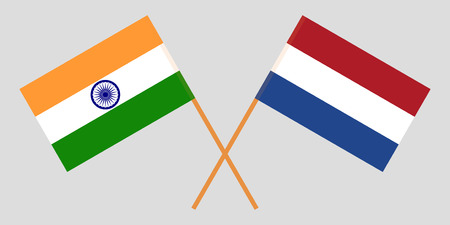 Netherlands and India. The Netherlandish and Indian flags. Official proportion. Correct colors. Vector illustration 일러스트