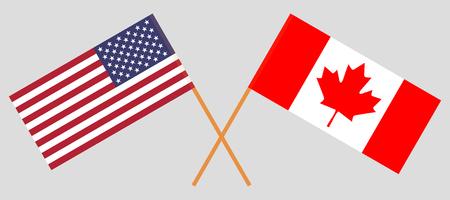 États-Unis et Canada. Drapeaux américains et canadiens. Couleurs officielles. Proportion correcte. Illustration vectorielle