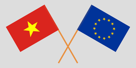 Vietnam and EU. The Vietnamese and European Union flags. Official colors. Correct proportion. Vector illustration