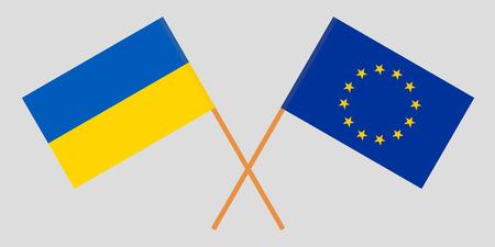 Ukraine and EU. The Ukrainian and European Union flags. Official colors. Correct proportion. Vector illustration Çizim