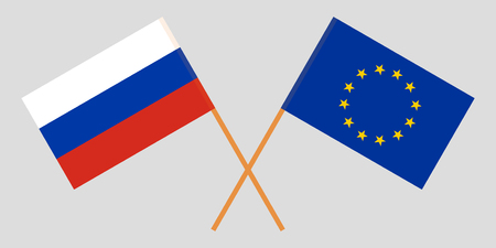 Russia and EU. The Russian and European Union flags. Official colors. Correct proportion. Vector illustration