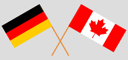 Germany and Canada. The German and Canadian flags. Official colors. Correct proportion. Vector illustration Векторная Иллюстрация