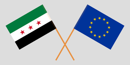 Syria opposition and EU. The Syrian National Coalition and European Union flags. Official colors. Correct proportion. Vector illustration