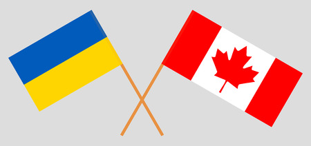Ukraine and Canada. The Ukrainian and Canadian flags. Official colors. Correct proportion. Vector illustration