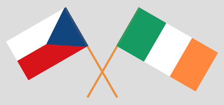 Flags of Czech republic and Ireland. Official colors. Correct proportion. Vector illustration