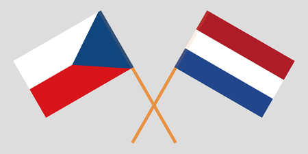 The Netherlands and Czech Republic flags. Official proportion. Correct colors. Vector illustration