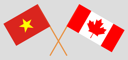 Vietnam and Canada. The Vietnamese and Canadian flags. Official colors. Correct proportion. Vector illustration Illustration