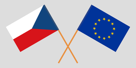 The Czech Republic and European Union flags. Official colors. Correct proportion. Vector illustration  イラスト・ベクター素材