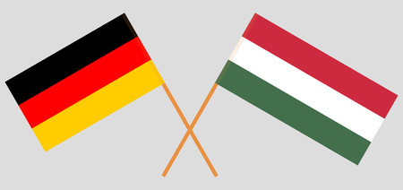 Hungary and Germany. The Hungarian and German flags. Official proportion. Correct colors. Vector illustration
