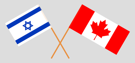 Israel and Canada. The Israeli and Canadian flags. Official colors. Correct proportion. Vector illustration
