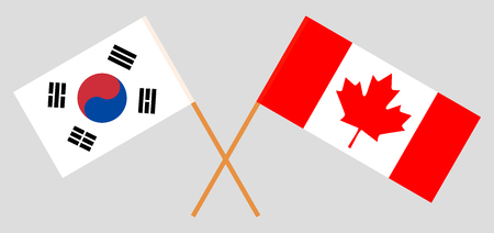 South Korea and Canada. The Korean and Canadian flags. Official colors. Correct proportion. Vector illustration