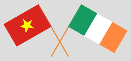Vietnam and Ireland. The Vietnamese and Irish flags. Official colors. Correct proportion. Vector illustration