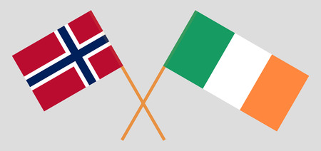 Norway and Ireland. The Norwegian and Irish flags. Official colors. Correct proportion. Vector illustration