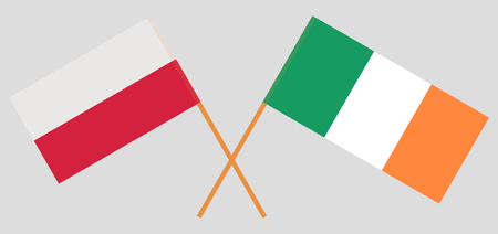 Poland and Ireland. The Polish and Irish flags. Official colors. Correct proportion. Vector illustration