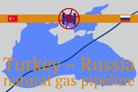Stream. Russian - Turkish transit gas pipeline. Vector illustration Ilustrace