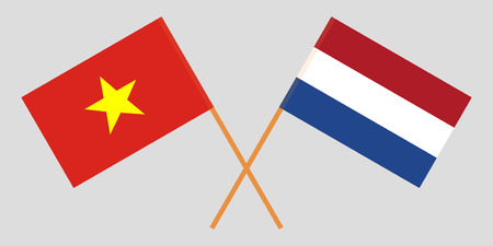 Netherlands and Vietnam. The Netherlandish and Vietnamese flags. Official proportion. Correct colors. Vector illustration  イラスト・ベクター素材