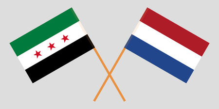 Netherlands and Syria opposition. The Netherlandish and Syrian National Coalition flags. Official proportion. Correct colors. Vector illustration