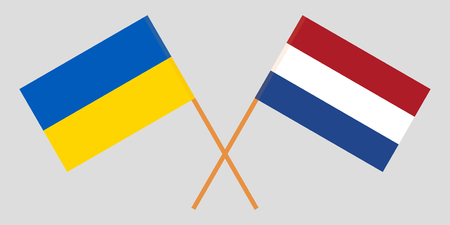 Netherlands and Ukraine. The Netherlandish and Ukrainian flags. Official proportion. Correct colors. Vector illustration