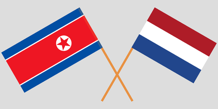 Netherlands and North Korea. The Netherlandish and Korean flags. Official proportion. Correct colors. Vector illustration