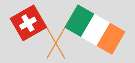 Switzerland and Ireland. The Swiss and Irish flags. Official colors. Correct proportion. Vector illustration