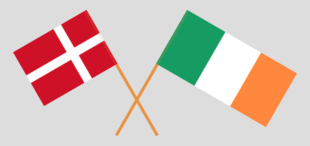 Denmark and Ireland. The Danish and Irish flags. Official colors. Correct proportion. Vector illustration