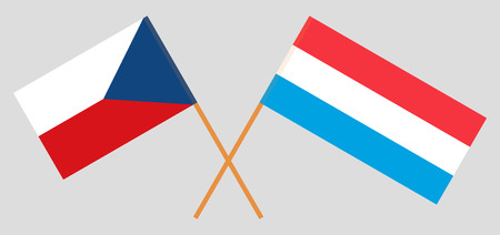 Luxembourg and Czech. The Luxembourgish and Czechia flags. Official proportion. Correct colors. Vector illustration