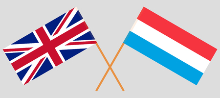 Luxembourg and UK. The Luxembourgish and British flags. Official proportion. Correct colors. Vector illustration Ilustrace