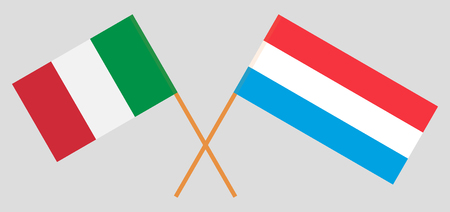 Luxembourg and Italy. The Luxembourgish and Italian flags. Official proportion. Correct colors. Vector illustration