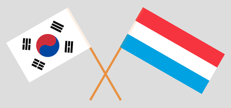 Luxembourg and South Korea. The Luxembourgish and Korean flags. Official proportion. Correct colors. Vector illustration