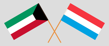 Luxembourg and Kuwait. The Luxembourgish and Kuwaiti flags. Official proportion. Correct colors. Vector illustration