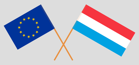 Luxembourg and European Union. The Luxembourgish and EU flags. Official proportion. Correct colors. Vector illustration