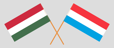 Luxembourg and Hungary. The Luxembourgish and Hungarian flags. Official proportion. Correct colors. Vector illustration