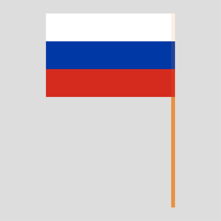 Flagpole with Russia flag. Official proportion. Correct colors. Vector illustration