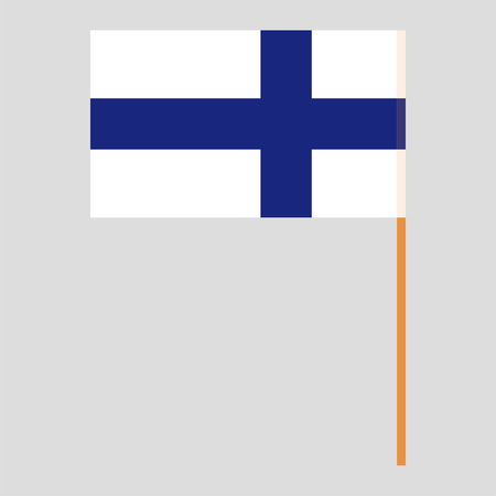 Flagpole with Finland flag. Official proportion. Correct colors. Vector illustration