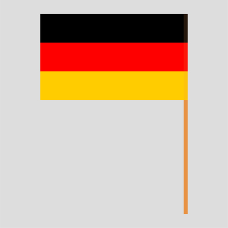Flagpole with Germany flag. Official proportion. Correct colors. Vector illustration