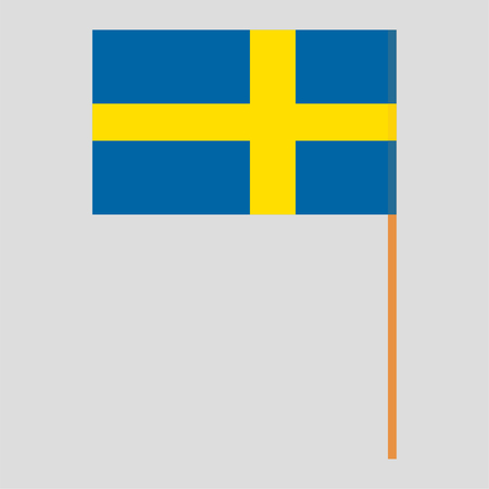 Flagpole with Sweden flag. Official proportion. Correct colors. Vector illustration