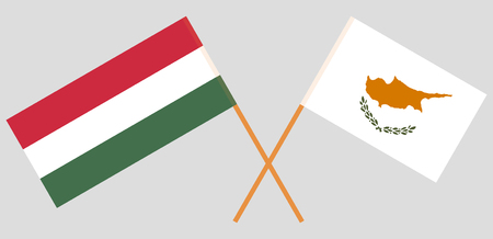 Cyprus and Hungary. The Cyprian and Hungarian flags. Official proportion. Correct colors. Vector illustration Vettoriali