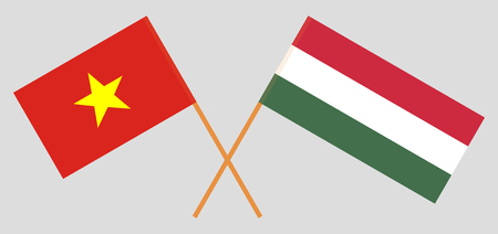 Hungary and Vietnam. The Hungarian and Vietnamese flags. Official proportion. Correct colors. Vector illustration  イラスト・ベクター素材