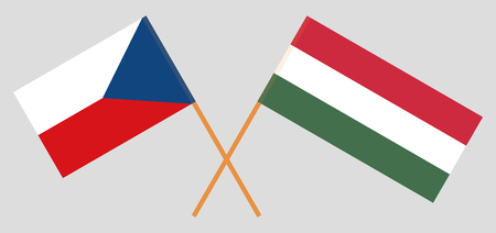 Flags of Hungary and Czech republic. Official proportion. Correct colors. Vector illustration  イラスト・ベクター素材
