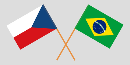 Brazil and Czech. The Brazilian and Czechia flags. Official proportion. Correct colors. Vector illustration