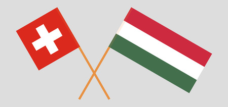 Hungary and Switzerland. The Hungarian and Swiss flags. Official proportion. Correct colors. Vector illustration