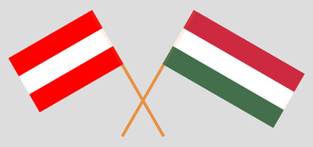 Hungary and Austria. The Hungarian and Austrian flags. Official proportion. Correct colors. Vector illustration Иллюстрация