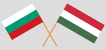 Hungary and Bulgaria. The Hungarian and Bulgarian flags. Official proportion. Correct colors. Vector illustration 向量圖像