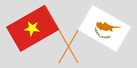 Cyprus and Vietnam. The Cyprian and Vietnamese flags. Official proportion. Correct colors. Vector illustration