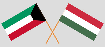Hungary and Kuwait. The Hungarian and Kuwaiti flags. Official proportion. Correct colors. Vector illustration