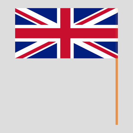 Flagpole with UK flag. Official proportion. Correct colors. Vector illustration