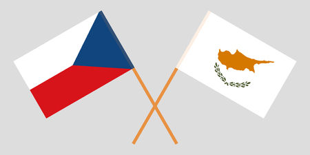 Cyprus and Czech. The Cyprian and Czechia flags. Official proportion. Correct colors. Vector illustration  イラスト・ベクター素材